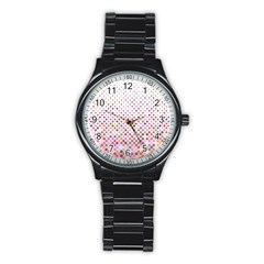Pattern Square Background Diagonal Stainless Steel Round Watch