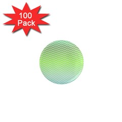 Green Line Zigzag Pattern Chevron 1  Mini Magnets (100 Pack)