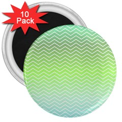 Green Line Zigzag Pattern Chevron 3  Magnets (10 Pack)