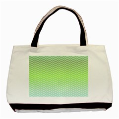 Green Line Zigzag Pattern Chevron Basic Tote Bag