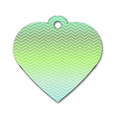Green Line Zigzag Pattern Chevron Dog Tag Heart (two Sides)