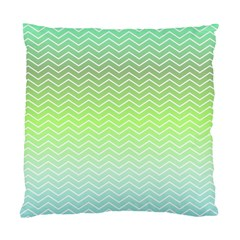 Green Line Zigzag Pattern Chevron Standard Cushion Case (two Sides)