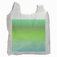 Green Line Zigzag Pattern Chevron Recycle Bag (one Side)