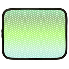 Green Line Zigzag Pattern Chevron Netbook Case (xl)