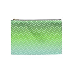 Green Line Zigzag Pattern Chevron Cosmetic Bag (medium)