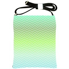 Green Line Zigzag Pattern Chevron Shoulder Sling Bags