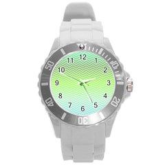 Green Line Zigzag Pattern Chevron Round Plastic Sport Watch (l)