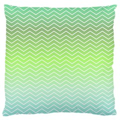 Green Line Zigzag Pattern Chevron Large Cushion Case (two Sides)