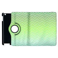 Green Line Zigzag Pattern Chevron Apple Ipad 2 Flip 360 Case