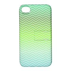 Green Line Zigzag Pattern Chevron Apple Iphone 4/4s Hardshell Case With Stand