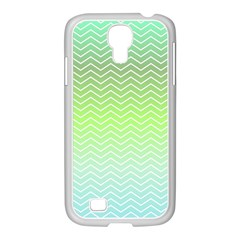 Green Line Zigzag Pattern Chevron Samsung Galaxy S4 I9500/ I9505 Case (white)