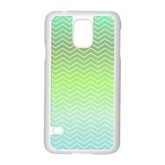 Green Line Zigzag Pattern Chevron Samsung Galaxy S5 Case (white)