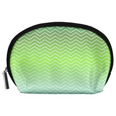 Green Line Zigzag Pattern Chevron Accessory Pouches (large)