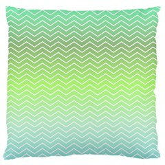 Green Line Zigzag Pattern Chevron Large Flano Cushion Case (two Sides)