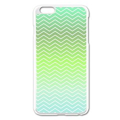 Green Line Zigzag Pattern Chevron Apple Iphone 6 Plus/6s Plus Enamel White Case