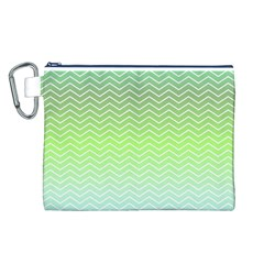 Green Line Zigzag Pattern Chevron Canvas Cosmetic Bag (l)