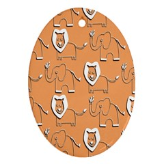 Lion Pattern Wallpaper Vector Oval Ornament (two Sides)
