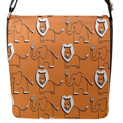 Lion Pattern Wallpaper Vector Flap Messenger Bag (s)