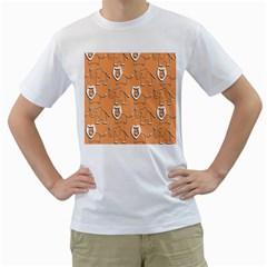 Lion Pattern Wallpaper Vector Men s T Shirt (white)