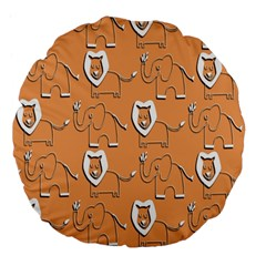 Lion Pattern Wallpaper Vector Large 18  Premium Flano Round Cushions