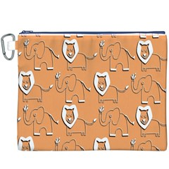 Lion Pattern Wallpaper Vector Canvas Cosmetic Bag (xxxl)