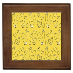 Chicken Chick Pattern Wallpaper Framed Tiles