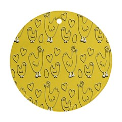 Chicken Chick Pattern Wallpaper Ornament (round)