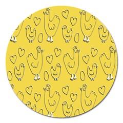 Chicken Chick Pattern Wallpaper Magnet 5  (round)