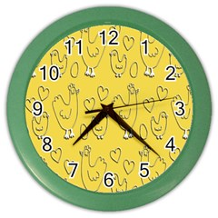 Chicken Chick Pattern Wallpaper Color Wall Clocks