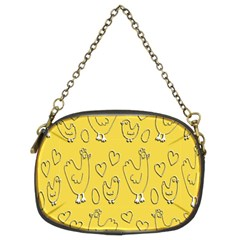 Chicken Chick Pattern Wallpaper Chain Purses (two Sides)
