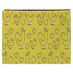 Chicken Chick Pattern Wallpaper Cosmetic Bag (xxxl)
