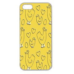 Chicken Chick Pattern Wallpaper Apple Seamless Iphone 5 Case (clear)