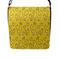 Chicken Chick Pattern Wallpaper Flap Messenger Bag (l)
