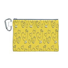 Chicken Chick Pattern Wallpaper Canvas Cosmetic Bag (m)