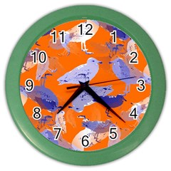 Seagull Gulls Coastal Bird Bird Color Wall Clocks