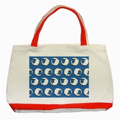 Sheep Pattern Wallpaper Vector Classic Tote Bag (red)
