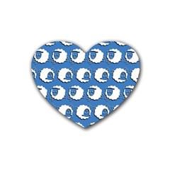 Sheep Pattern Wallpaper Vector Rubber Coaster (heart)
