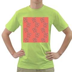 Butterfly Pink Pattern Wallpaper Green T Shirt