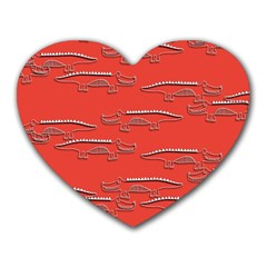 Crocodile Alligator Pattern Heart Mousepads