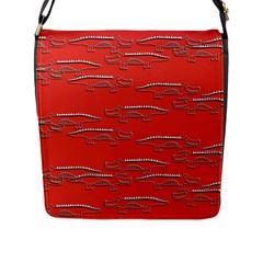 Crocodile Alligator Pattern Flap Messenger Bag (l)