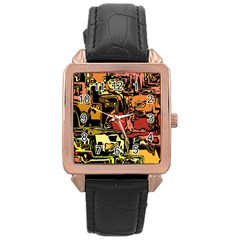 Modern Abstract 47c Rose Gold Leather Watch