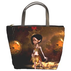 Steampunk, Cute Little Steampunk Girl In The Night With Clocks Bucket Bags