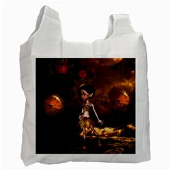 Steampunk, Cute Little Steampunk Girl In The Night With Clocks Recycle Bag (one Side)
