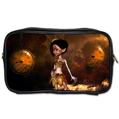 Steampunk, Cute Little Steampunk Girl In The Night With Clocks Toiletries Bags 2 Side