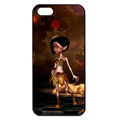 Steampunk, Cute Little Steampunk Girl In The Night With Clocks Apple Iphone 5 Seamless Case (black)