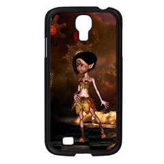 Steampunk, Cute Little Steampunk Girl In The Night With Clocks Samsung Galaxy S4 I9500/ I9505 Case (black)