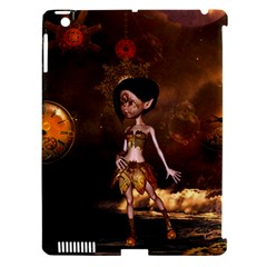 Steampunk, Cute Little Steampunk Girl In The Night With Clocks Apple Ipad 3/4 Hardshell Case (compatible With Smart Cover)