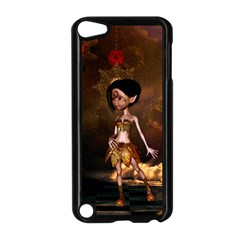 Steampunk, Cute Little Steampunk Girl In The Night With Clocks Apple Ipod Touch 5 Case (black)