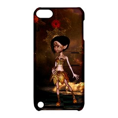 Steampunk, Cute Little Steampunk Girl In The Night With Clocks Apple Ipod Touch 5 Hardshell Case With Stand