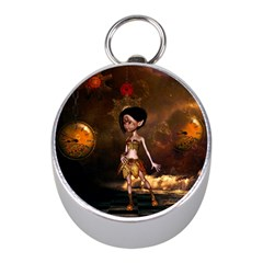 Steampunk, Cute Little Steampunk Girl In The Night With Clocks Mini Silver Compasses